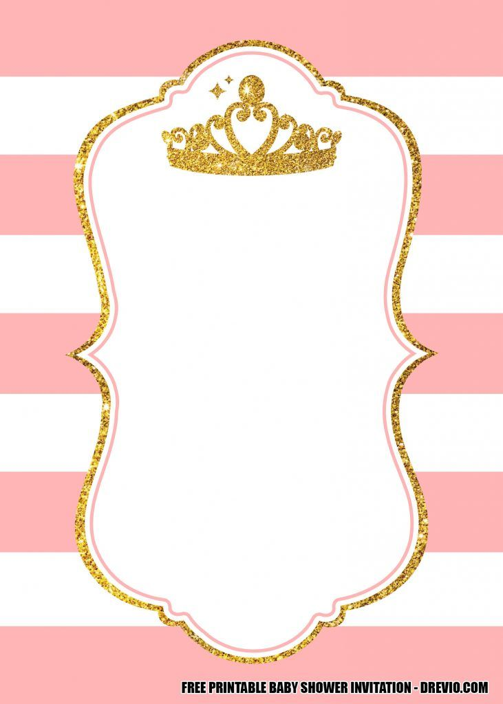 13 Free Pink And Gold Princess Crown Themed Invitation Templates Pink And Gold Invitations Gold Invitations Gold Baby Shower Invitations