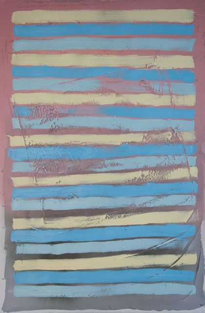 Stella Corkery: Untitled 87; oil and spray paint on readymade canvas and stretcher, 610mm x 910mm