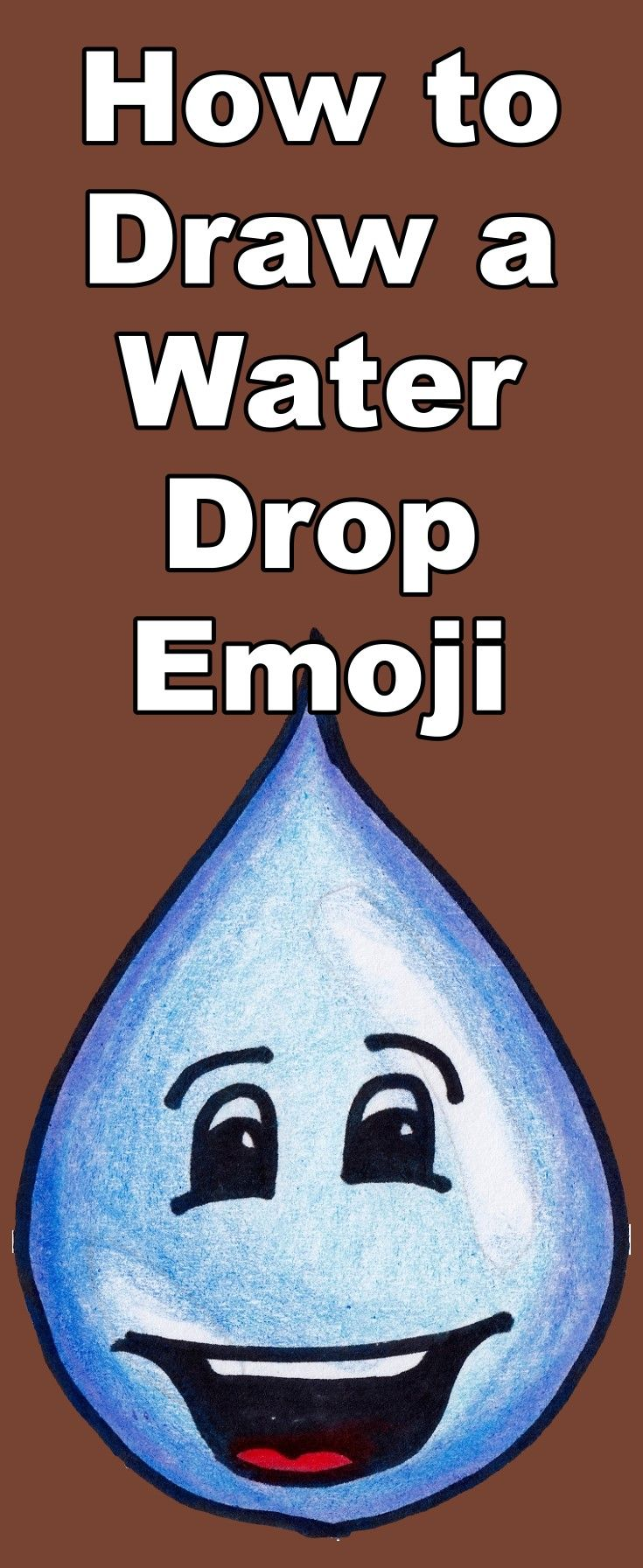 Learn how to draw a water drop emoji in this tutorial which includes a teaching video and coloring page download