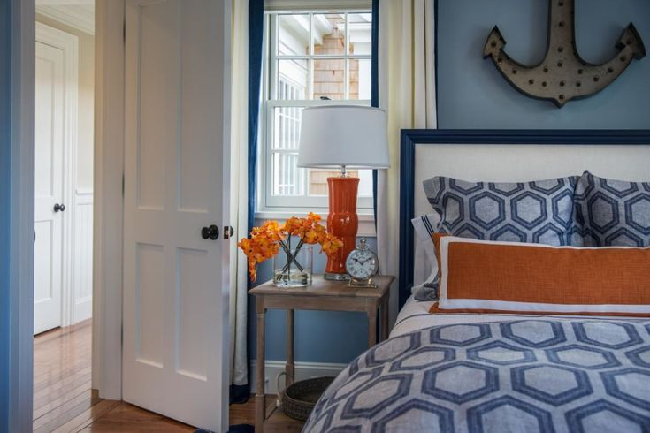 Awesome Images Of Blue And Orange Bedroom Design And Decoration: Killer Nautical Blue And Orange Bedroom Decoration Using Anchor Bedroom Wall Decor Including Blue And Orange Pattern Bedding And Light Blue Bedroom Wall Paint ~ fendhome.com Bedroom Inspiration
