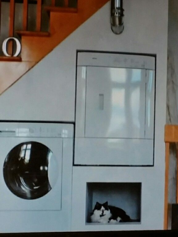 Laundry Under Stairs - Utilize wasted space under a staircase! Saw this on Tiny House Nation on FYI channel. The area under the washer would be useful for storing laundry products, but I love that in the photo the kitty has commandeered the space!! | LRE