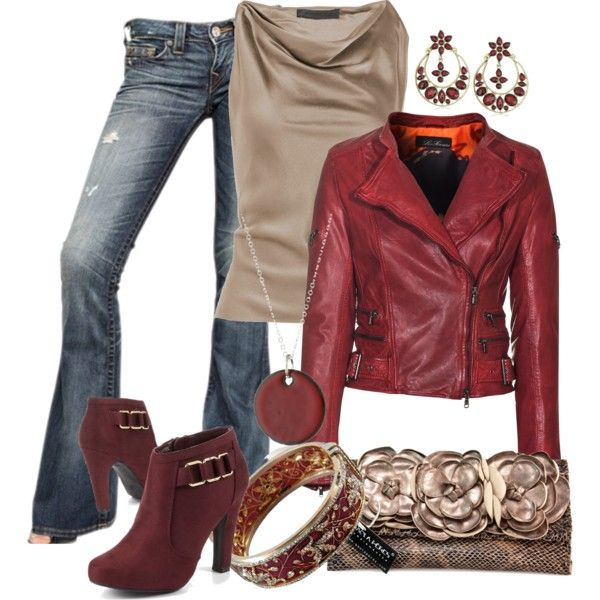 Red jacket and ankle boots, shiny sleeveless champagne colored top and bag.