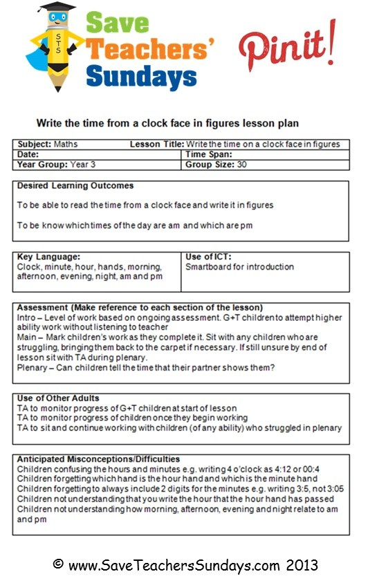 This is an example of the daily lesson plans for trainees that are available on http://www.saveteacherssundays.com/