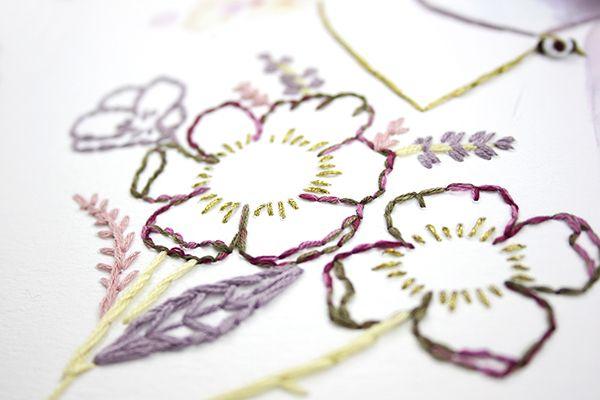 Bordados sobre papel Almu Ruiz.  Embroidery art in paper