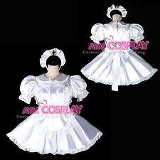 lockable sissy maid  satin dress purple unisex CD/TV Tailor-made [G2395]