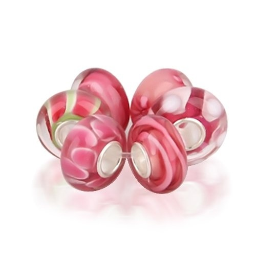 """""""This Watermelon Pink Murano Glass Bead Bundle features six beautiful, artistically-crafted, round, glass beads. Each barrel bead is made of Murano glass, blown to measure .5? in diameter, with a 4mm .925 sterling silver core. In bright luscious pink watermelon tones, these Watermelon Pink Murano Glass Beads glisten like hard candy. White dots, curving green swirls, and smears of glistening red give these beads unique flavor...: Glasses Beads, Murano Glasses, Sterling Silver, Pink Murano, Glass Beads, Beads Bundle, 925 Sterling, Bling Jewelry, Fit Pandora"""