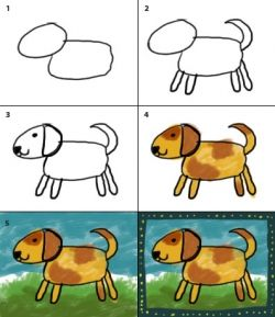 how to draw a dog kindergarten