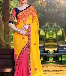 Buy yellow embroidered georgette fancy saree with blouse party-wear-saree online