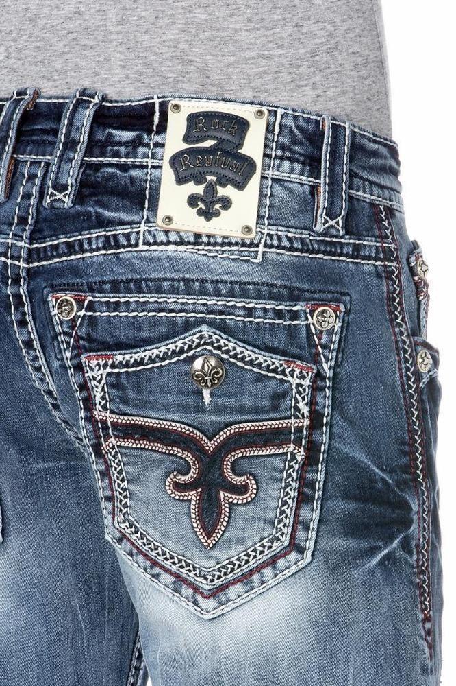 ROCK REVIVAL JEANS SALE NWT Leotis Faux Flap Straight Jean 29 30 31 32 34 36 38 #RockRevival #ClassicStraightLeg