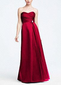 Elegant and timeless, you will turn heads in this gorgeous satin dress!  Strapless bodice features ultra feminine and chic sweetheart neckline.  Empire waist creating a slimming silhouette and�is adnored with a sparkling removable�brooch.  Long satin skirt adds sophistication and drama to this already beautiful ensemble.  Fully lined. back zip. Imported polyester. Dry clean.