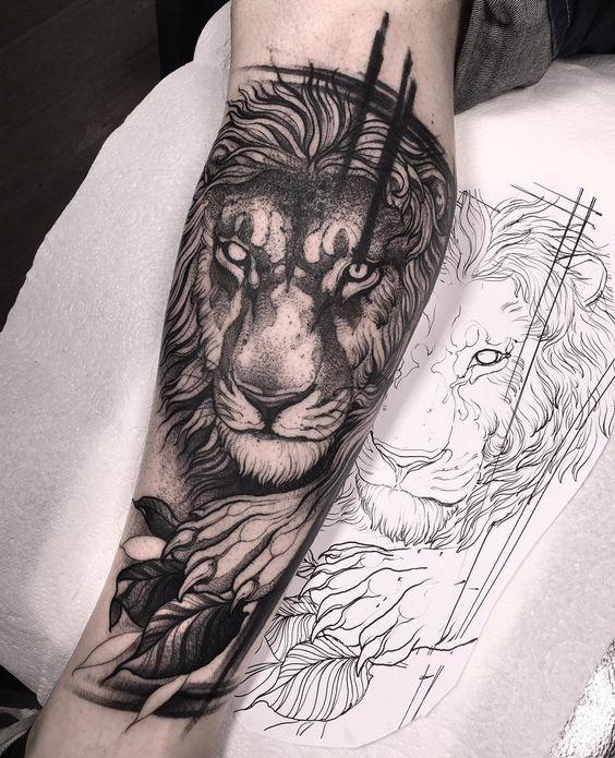 Lion Sleeve Tattoo : sleeve, tattoo, Tattoo, Sleeve, Lower, Designs, Ideas