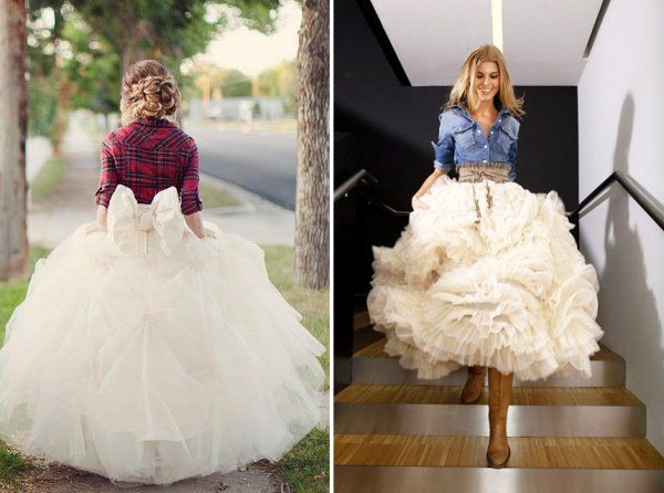 Dear Bride.  Do accessorize for a party after your ceremony.  If you're having a barn wedding, why not wear flannel??    The Cowboy's Bride