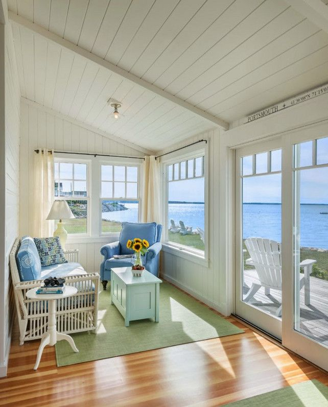 Portsmouth, Rhode Island Beach House sunroom. Coastal CottageCottage Living  Room SmallSmall Cottage InteriorsSmall ...