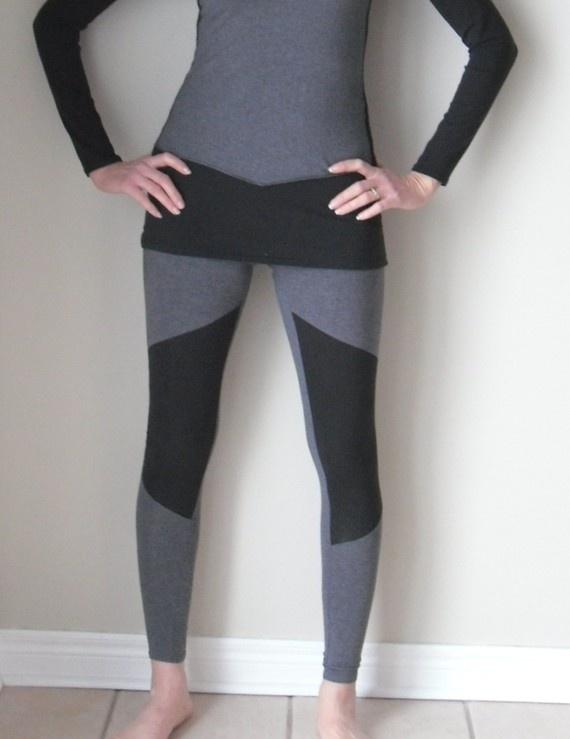 Geometric leggings  Grey and black jersey  xs s m l by birdapparel, $48.00