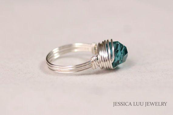 Anello Swarovski Blu filo avvolto gioielli di JessicaLuuJewelry