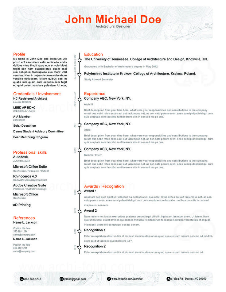 166 Best Resumes - Architecture/Interior Design/Graphic Design