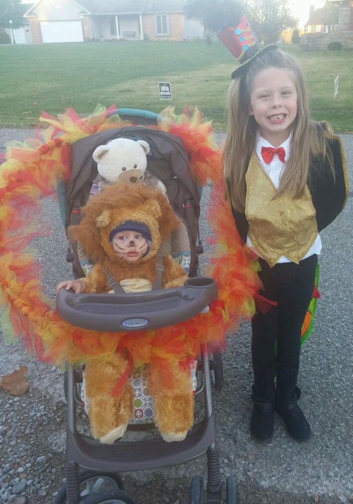 Lion tamer and lion with ring of fire sibling costume idea