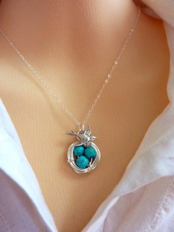 Original Version Silver Bird Nest Turquoise 3 by JCGemsJewelry