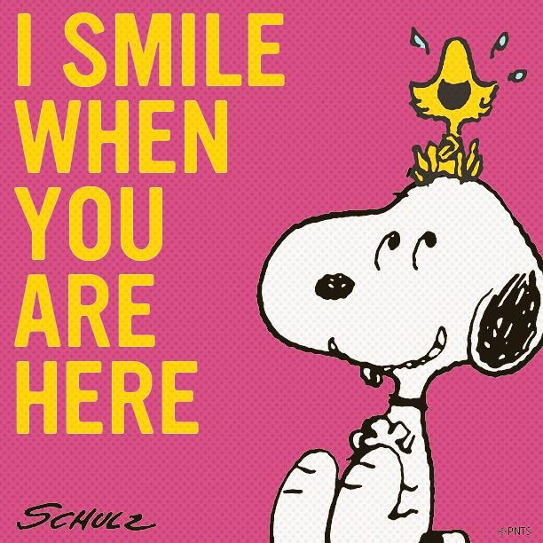 'I smile when you are here', Snoopy and Woodstock