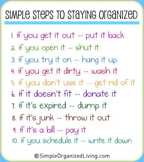 Quick Tips for Organizing and living with less clutter | This is the basis of every bit of organizing advice ever given.: Simple Step, Life, Posts, House Rules, Stay Organizations, Kids, Families, Get Organizations, The Rules
