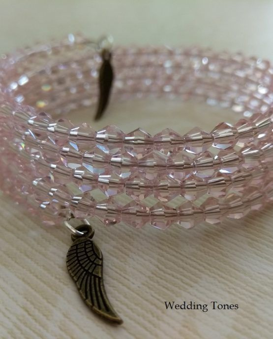 Handmade Pink Crystals Wrap Bracelets with Charms – Wedding Tones