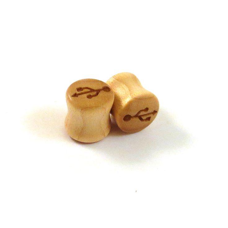 "USB Symbol Maple Wooden Plugs  PAIR  2g 6.5mm 0g 8mm 00g 9mm 10mm 7/16"" 11mm 1/2"" 13mm 9/16"" 14mm 5/8"" 16mm 3/4"" 19mm 7/8"" and up Ear Gauges by EarEmporium on Etsy https://www.etsy.com/listing/198810957/usb-symbol-maple-wooden-plugs-pair-2g"