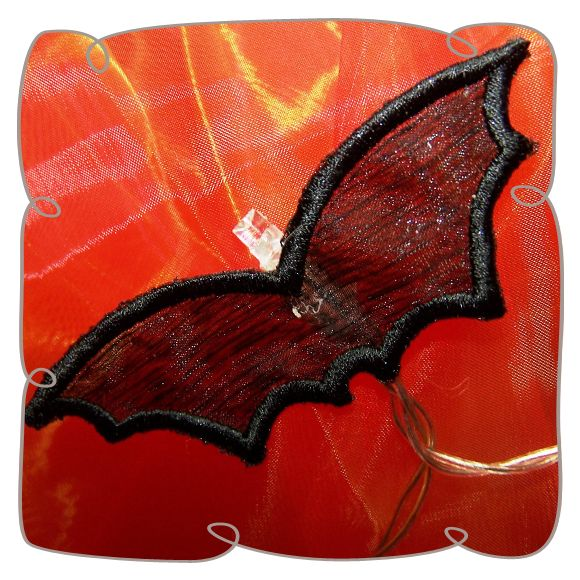 Organza 3D Bat Wings String Lights Machine Embroidery Design