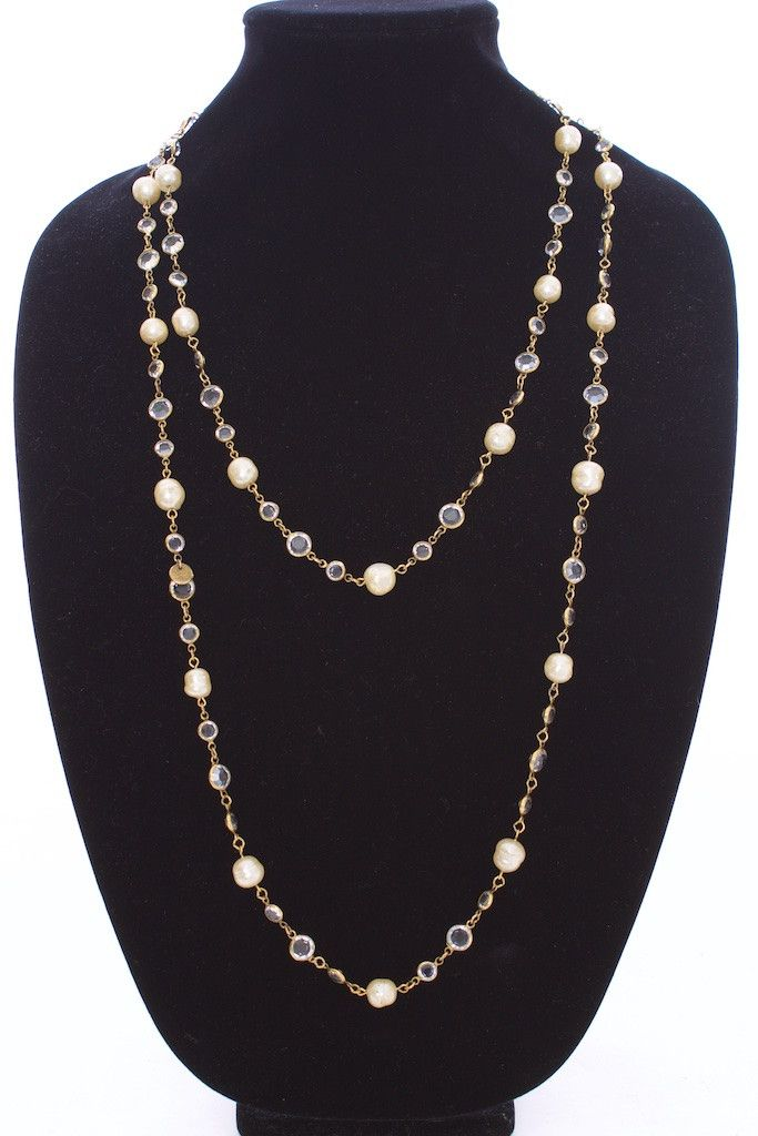 "- VINTAGE - CHANEL - SAUTOIR NECKLACE - / 60"" SAUTOIR PEARLS & GOLD / DOUBLE TWIST CRYSTAL/RHINESTONE"