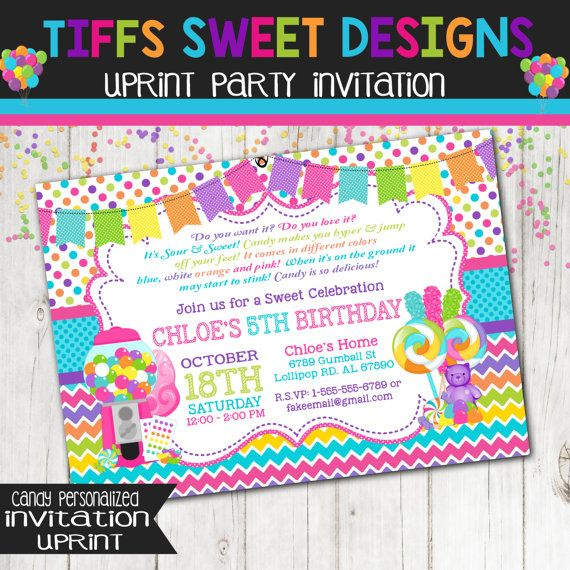Candy Party Invitation Bubble Gum Machine by TiffsSweetDesigns