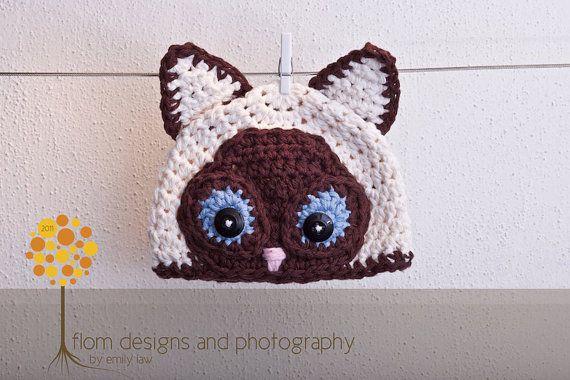 Crochet Pattern for Siamese Cat Hat Earflap by crochetbyjennifer