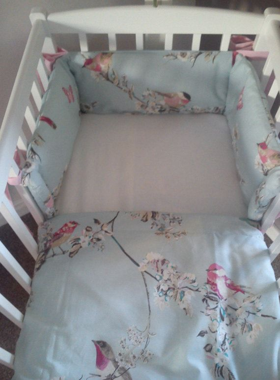 Vintage Style Bird Budgie Cot Cot Bed Mini Crib full by SiennaChic, £64.99