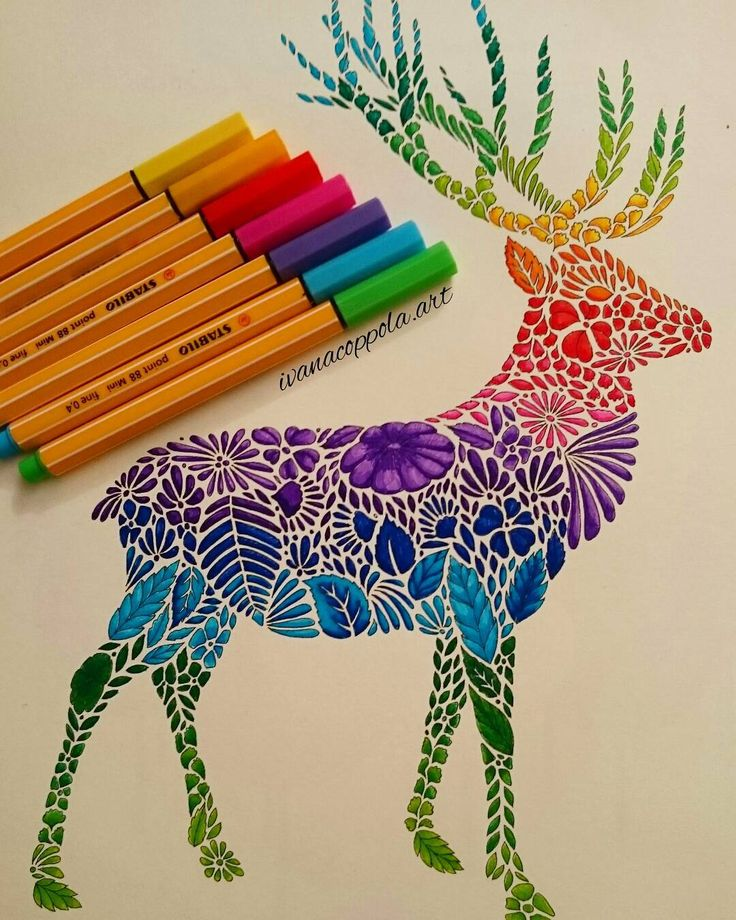 When you need to relax, the best thing is  colouring in  #colouring #animalkingdom  #milliemarotta #stag #instart #stabilo #artworksfever #artscrowds #artofdrawingg #colpringmasterpiece