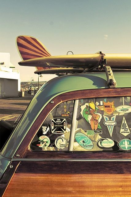 surfboard fin art // classic surf design // beach life // beach house // surfing lifestyle // surf car // woody