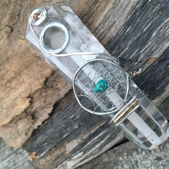 Turquoise Dreamcatcher Clear Quartz Pipe w/ Carb-hole. All handcrafted. #crystalpipe #clearcrystalpipe #turquoise #dreamcatcher #dreamcatchers #clearquartzcrystal #healthysmoking #custompipes #crystalhealing #largepipe #chakrapipe #reikipipe #quartzpipe #girlypipes #marijuana #instaweed #cannabis #cannabiscommunity #420 #smokingpipes #tobaccopipe #gifts #boho #minerals #highvibes #goodvibes #energyhealing #crystalpipecarb #carbhole