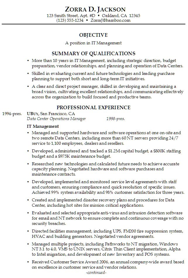 Career Summary Example  Table Of Contents  Career Summary