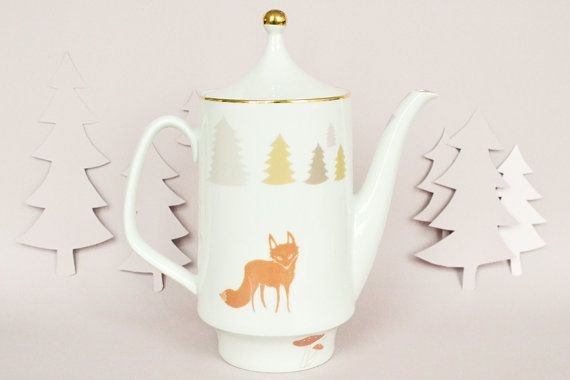 Teapot with foxes and trees by StudioRobinPieterse on Etsy, $70.00