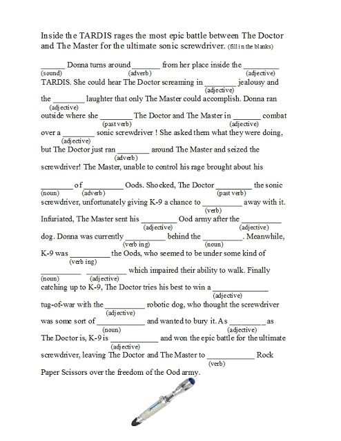 For the Love of Doctor Who: Who gifts. Doctor Who Mad Lib + other printable activities