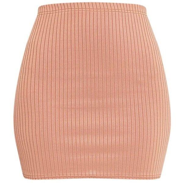 Kristine Camel Ribbed Mini Skirt (€8,40) ❤ liked on Polyvore featuring skirts, mini skirts, ribbed skirt, red skirt, short mini skirts, mini skirt and short skirts