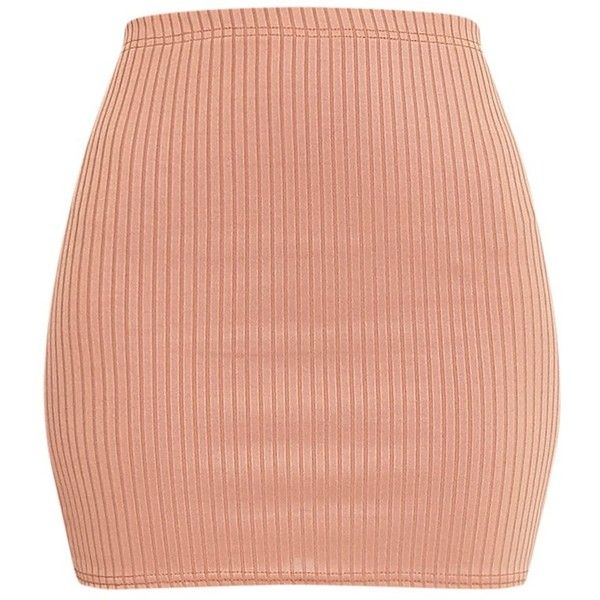Kristine Camel Ribbed Mini Skirt (16 BAM) ❤ liked on Polyvore featuring skirts, mini skirts, short skirts, red skirt, short mini skirts, jersey knit skirt and sexy short skirts
