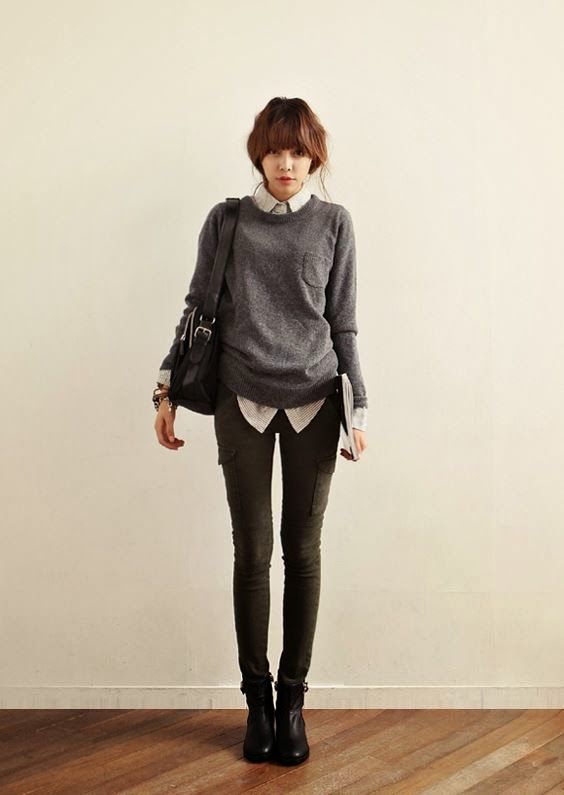 Everyday Look : Casual and Classy, love the blouse + sweater mix (Korean Model)