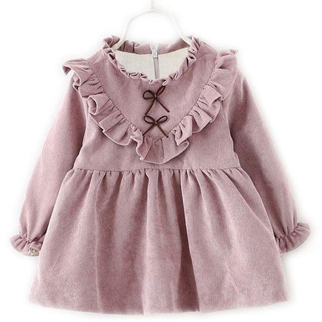 Inverno quente Menina Infantil vestido de Manga Longa Outono do Miúdo da criança pano Tutu Bow Ruffles Vestido De Veludo Vestidos de Nível Duplo roxo rosa