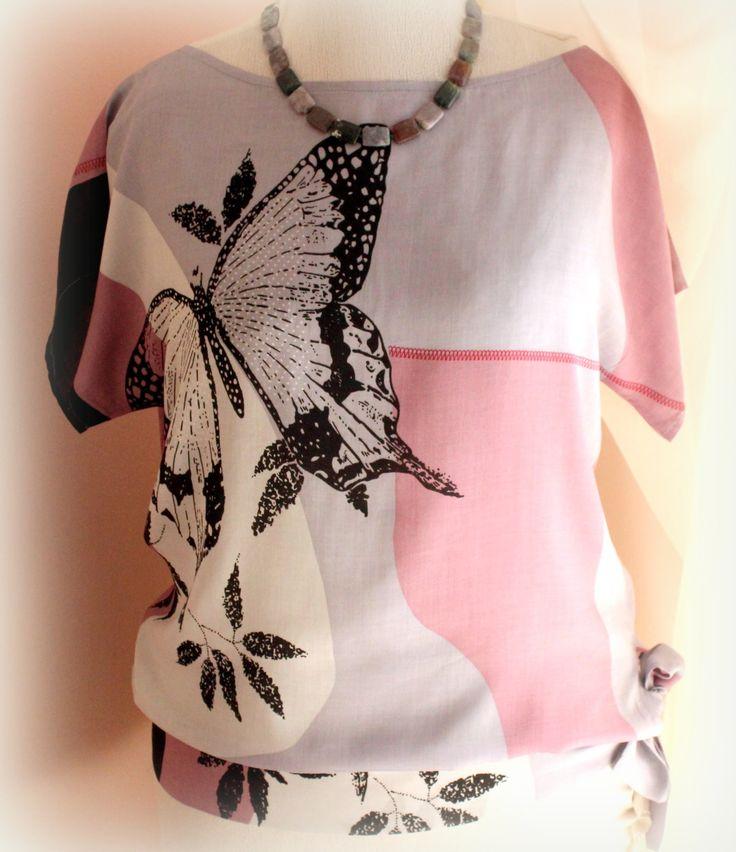 Как сшить легкую блузу с притачным поясом бантом