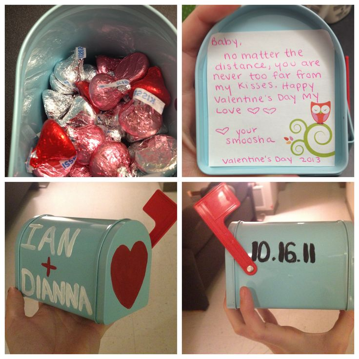 """Valentine's Day mailbox gift for long distance relationships. Filled with """"kisses"""" so your loved one is never far from your love and kiss. My boyfriend loved it and finished the candy in days! The mailbox was from Target, candy from Dollar Tree, Paint from Walmart, and post-it's were from CVS. The paint kinda peels off a little but not too bad. When painting just make sure you let each coat FULLY dry before putting more on it to make sure you don't mess up your lines."""