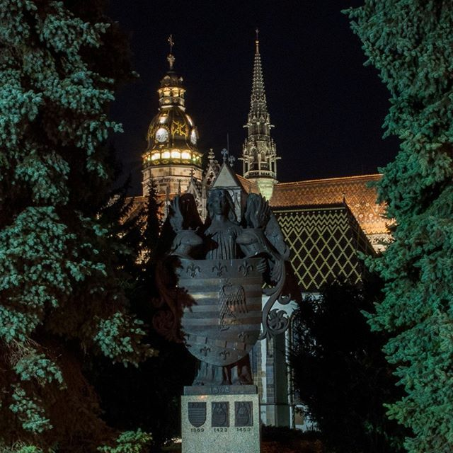 Coat of arms of Kosice  Kosice was the first town in Europe to be granted its own coat of arms.    #history #coatofarms #slovakia #beautifulslovakia #kosice #town #evening #sculpture
