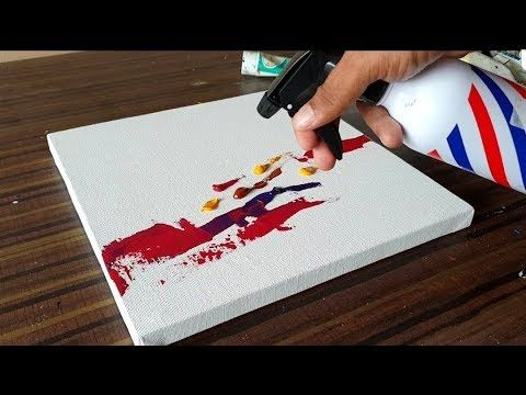 Simple and simple abstract painting on canvas with acrylic paints / Demonstration / Project 365 days / Day No. 070 – YouTube