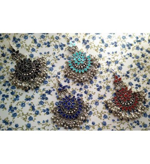 Enamel Afghan Earrings