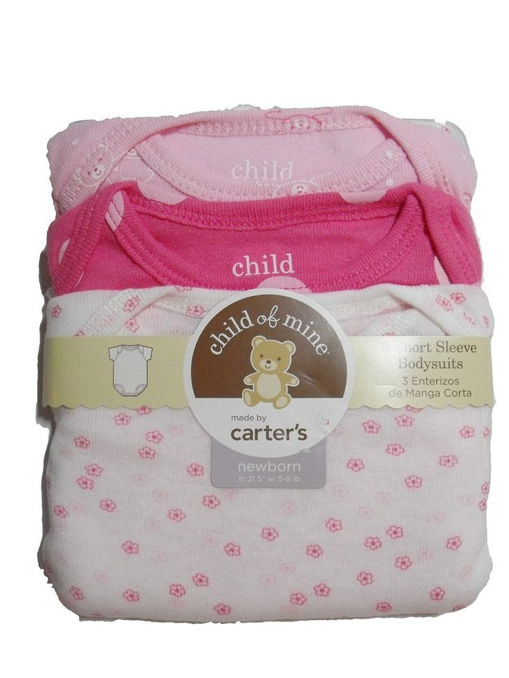 Carters Child of Mine Girl Bodysuits Onesies Set of 3 Pink Floral (Newborn). ADORABLE baby girl Carter's Child of Mine bodysuits (onesies). Pink & pink floral. Short sleeve, package contains 3 onesies. 100% cotton.