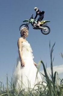 My husband loves to dirt bike, so he jumped on his bike for a couple photos after the ceremony.