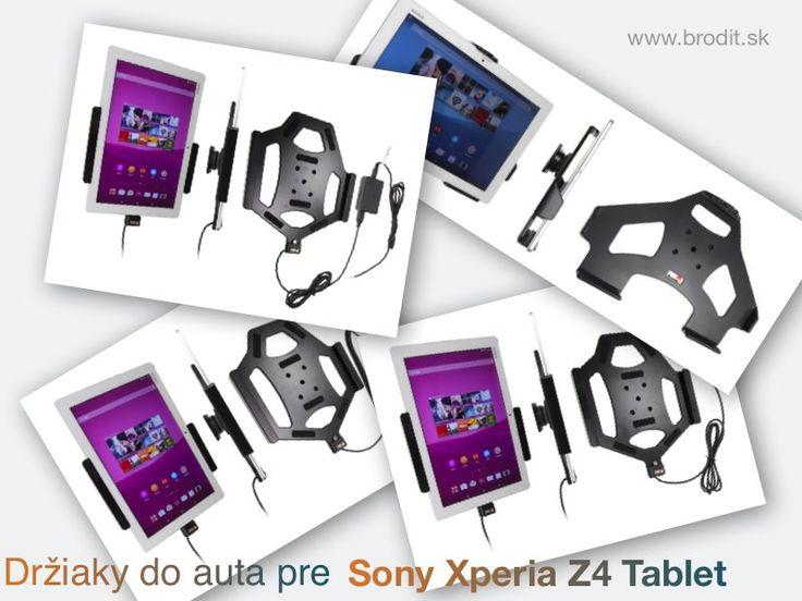 Nové držiaky do auta pre Sony Xperia Z4 Tablet. Pasívny držiak Brodit pre pevnú montáž v aute, aktívny s CL nabíjačkou, s USB alebo s Molex konektorom.