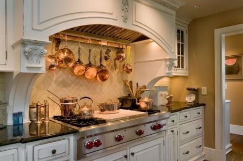 Pot rack under hood: Pot Racks, Hanging Pot, Kitchens Design, Copper Pot, Traditional Kitchens, Subway Tile, Clay Pot, New York, Kitchens Hoods